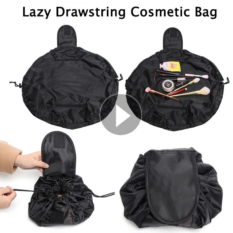 Lazy Women Drawstring Cosmetic Bag Fashion Travel Makeup Bag Organizer Make Up Case Storage Pouch Toiletry Beauty Kit Wash Bag