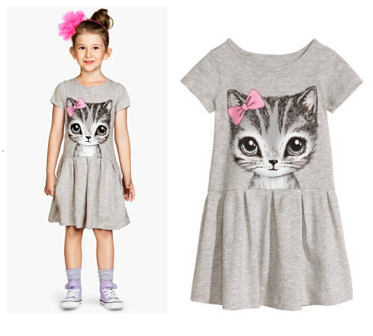 H5e1daed9b111414fb9d4dca18a2661e0v Kids Dresses Girls 2017 New Fashion Sweater Cotton Flower Shirt Short Summer T-shirt Vest Big For Maotou Beach Party Dress