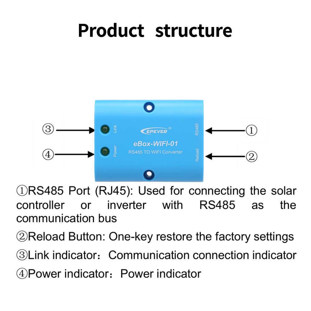 EBOX wifi 01 RS485 последовательный сервер wifi модуль для MPPT Контроллер заряда и инвертор RS485 порт Солнечный контроллер модуль