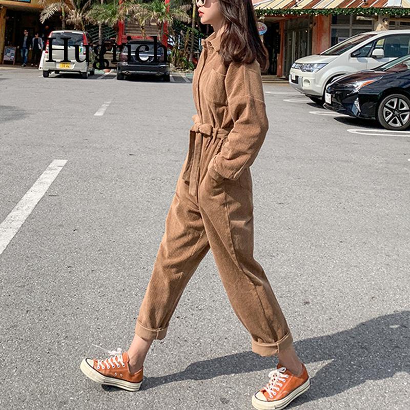 2020 Women Brown Khaki Black Corduroy Jumpsuit Turn Down Collar Long Sleeve Button Pocket Casual Solid Winter Autumn