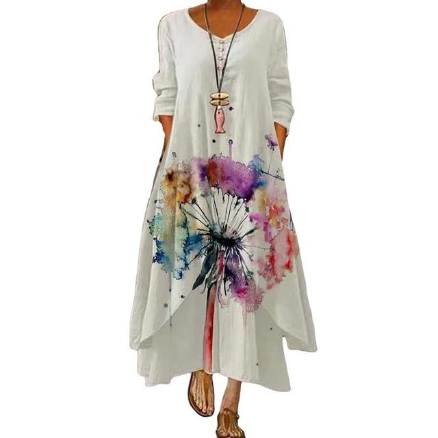 2021 Elegant Flowers Print Long Sleeve Spring Summer Dresses Casual O Neck Loose Women Dress Vintage Party Vestidos Long Dresses 3