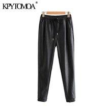 Pantalones de Mujer con bolsillos de cuero Pu con estilo Vintage de moda 2020 cintura elástica con cordón y corbata al tobillo Pantalones Mujer