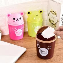 цена 1pc Mini Office Desktop Trash Bin Creative Covered Kitchen Living Room Trash Can Kitchen Waste Bin Sitting Room Toilet Trash New онлайн в 2017 году