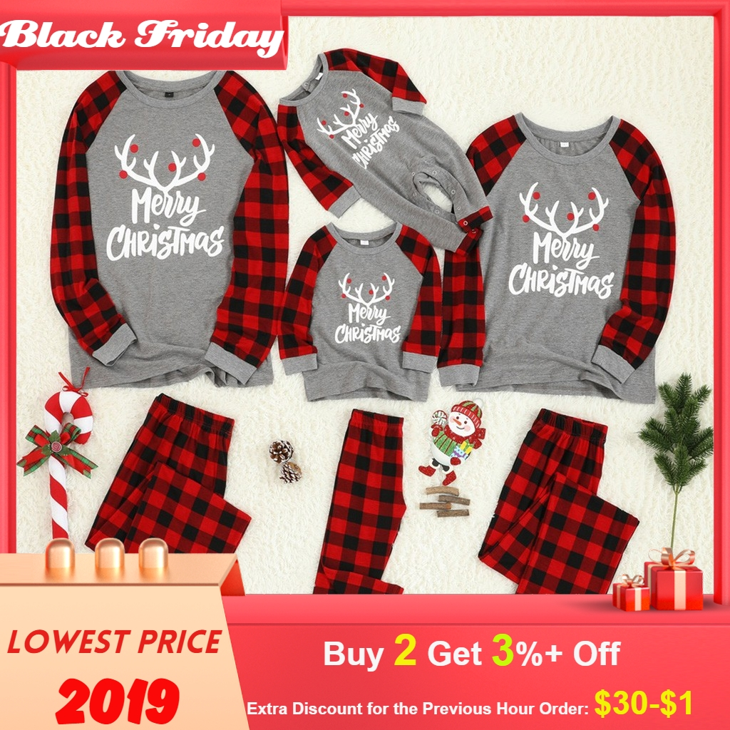 Christmas Family Matching Clothes Women Mom Daddy Kids Baby Letter Plaid Print Top Blouse+pants Family Clothes Pajamas