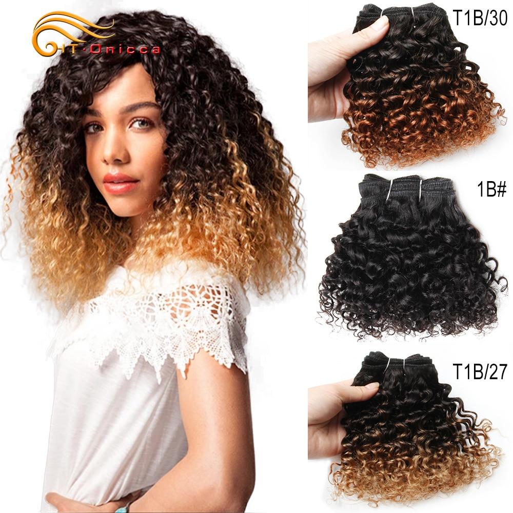 Cabelo brasileiro curto encaracolado, 6 pacotes de cabelo Polegada humano remy mulheres negras