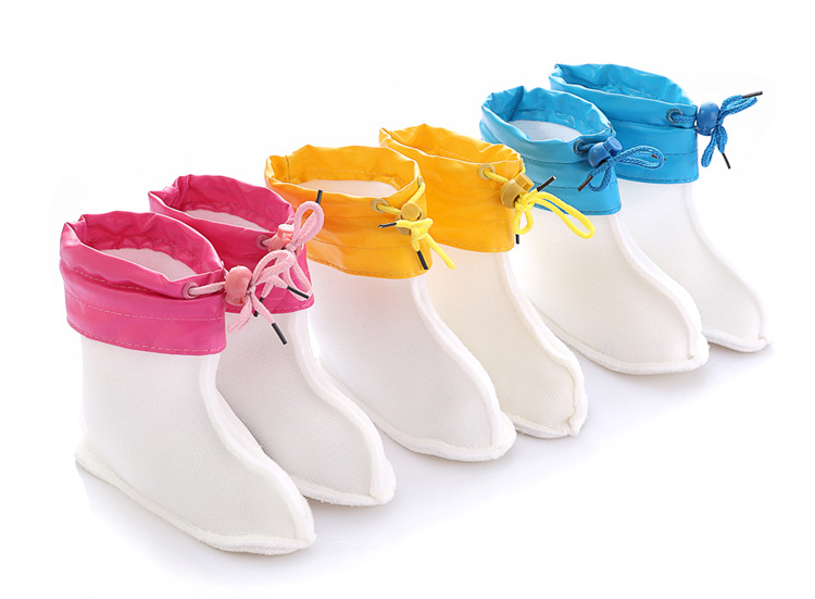 Children's Rain Shoes Warm Inner Boys Girls Rain Boots Cotton Cover Pu Leather Mouth Waterproof Warm Shoes Baby Water Shoes