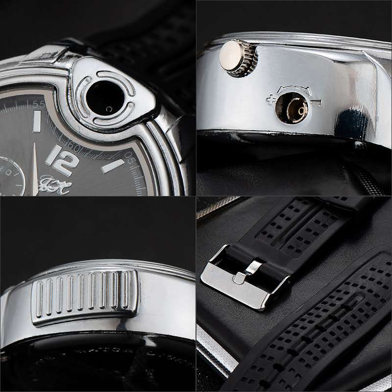 Military Lighter Watch Novelty Quartz Sports Refillable Gas Clock Men's Watches Rubber Band Creative Gifts for Men Dad Husband