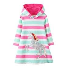Jumping Meters-vestido con capucha de princesa unicornio para otoño e invierno, ropa de algodón a rayas para niños, novedad de 2020