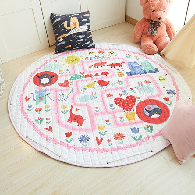 Baby Play Mats Cartoon Crawling Carpet Play Mat  Round Kids Carpet Floor Rug Bag Kids Room Decoration Mat