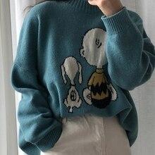 Sweater Women Tops Pullover Long-Sleeve Loose Cartoon-Pattern Winter Cute New