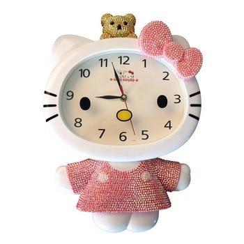 Creative wall clock cute mute wall clock children cartoon quartz clock living room bedroom battery quartz clock single side