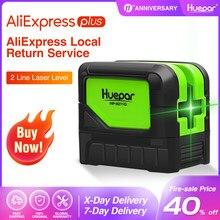 Huepar-Nivel láser de Rayo verde, 2 líneas cruzadas, 2 puntos, profesional, 180 grados, autonivelante, herramientas de diagnóstico láser 9211G