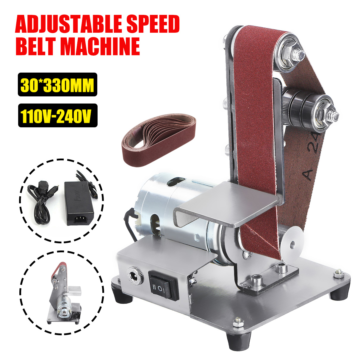350W Mini Electric Belt Machine Sander Sanding Grinding Polishing Machine Abrasive Belts Grinder DIY Polishing Cutter Edges