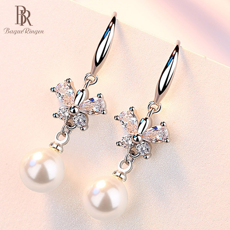 Bague Ringen Temperament Pearl Earrings For Women Exquisite Simplicity Silver 925 Jewelry Butterfly Ear Drops Dating Wholesale