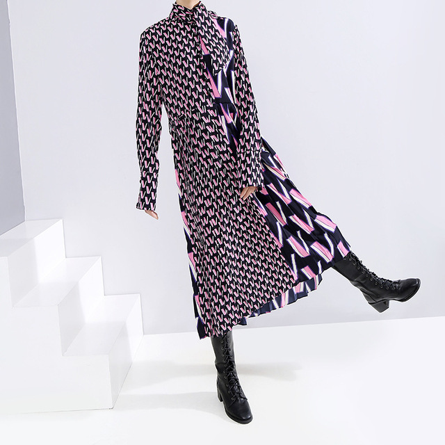 [EAM] Women Pattern Print Split Temperament  Dress New Bow Collar Long Sleeve Loose Fit Fashion Tide Spring Autumn 2021 19A-a872 4
