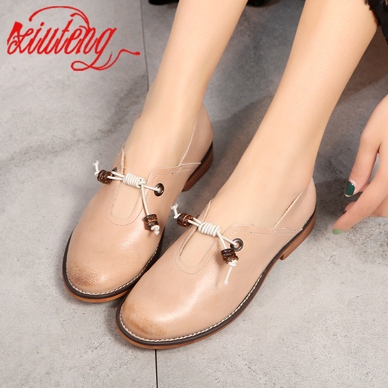 Xiuteng 2020 New Fashion Women's Flat Shoes Woman Genuine Leather Soft Outsole Comfortable Casual Shoes Women Flats