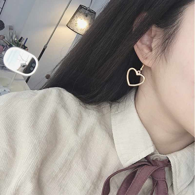 New Hollow Geometry Earrings Heart Sweet Gold Love Earrings Women Gifts Jewelry Orecchini Brincos Pendientes Oorbellen