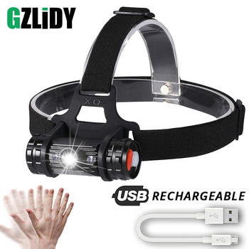 LED Headlamp USB Rechargeable Induction Switch Headlight Waterproof Outdoor Fishing Light High Power 18650 Lantern Camping Lamp
