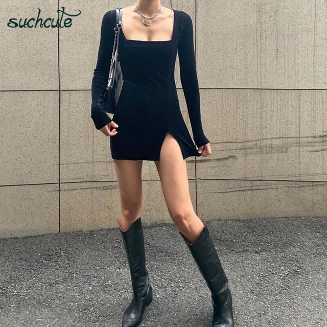SUCHCUTE velvet women dress bodycon Modis soild Autumn Winter 2020 elegent split Femme Dresses party long sleeve gothic clothes 2