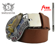 Vintage Eagle Belt Buckle Suit 4cm Width Silver Metal Men's Cool 3D Jeans Accessories with Leather