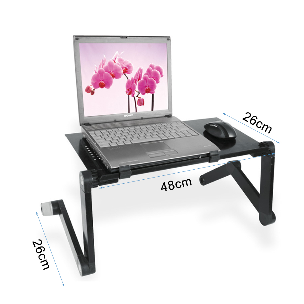 Laptop Table Portable Foldable Computer Desk Bed Laptop Stand Tray Desk With Cooling Fans Mouse Pad