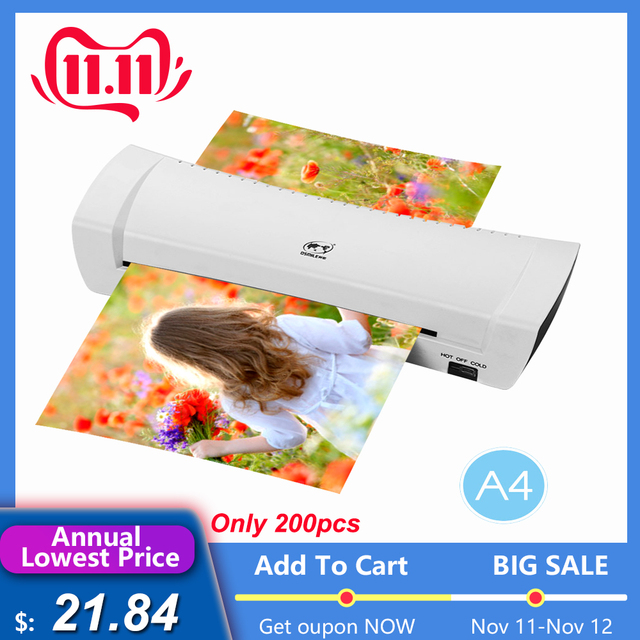 """A4 9"""" Office Hot&Cold Photo Laminator Roll Laminator Thermal Laminating Machine for A4 Document Photo"""