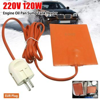 1PC 220v 120w Car Engine Oil Pan Sump Tank Heater Mat Reduce Wear Pad Eu Plug 210cm Orange Silicone Rubber Tank Heater Plate Pad image