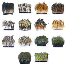 1 yard Pure Natural feathers Trim Chicken Goose Peacock feather Fringe DIY Crafts Ribbon Dress Accessories Decoration 2yards lot turkey feather fringe ribbon 5 6inch chandelle marabou turkey feathers trim skirt dress feather decoration plumas diy