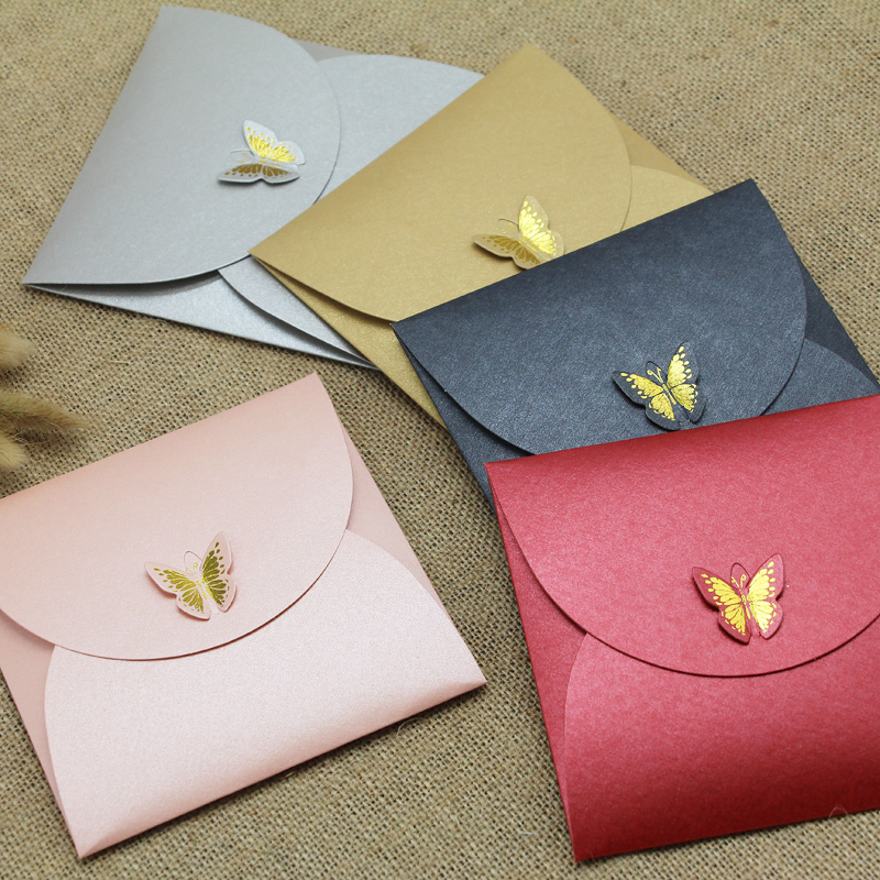 10pcs/lot 250gsm Pearl Paper Envelopes With Hot Stamping Butterfly Buckle Kraft Envelope For Wedding Invitation Envelope Gift