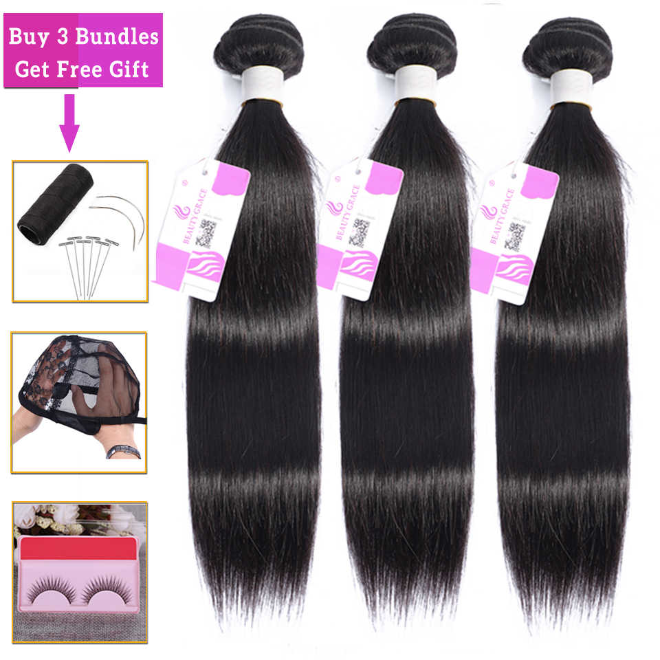 Beauty Grace Steil Haar 3 Bundel Aanbiedingen Human Hair Bundels Niet-Remy Hair Extensions Brazilian Hair Weave Bundels