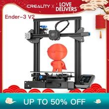 CREALITY 3D Più Nuovo Ender 3 V2 Kit Stampante 32 Bit Slilent Mianboard Alta Pricison Nuova INTERFACCIA UTENTE Screen Display Con Riprendere Stampa