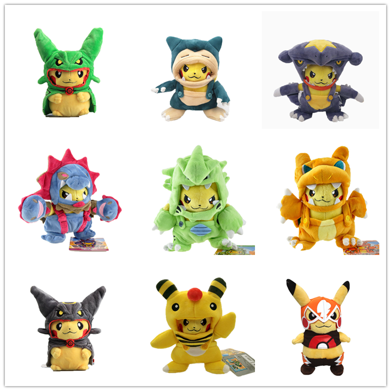 9 Style Anime Pikachu Cosplay Hydreigon Tyranitar Charizard Ampharos Plush Toy Stuffed Peluche Doll Christmas Gift For Children