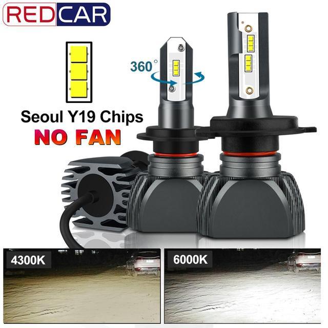 2pcs Fanless H7 Car Headlight Bulb H1 H3 H4 Seoul Y19 Chips LED Lamp Bulbs H8 H9 H11 9006 HB4 9005 HB3 H27 880 881 Auto Led Lamp