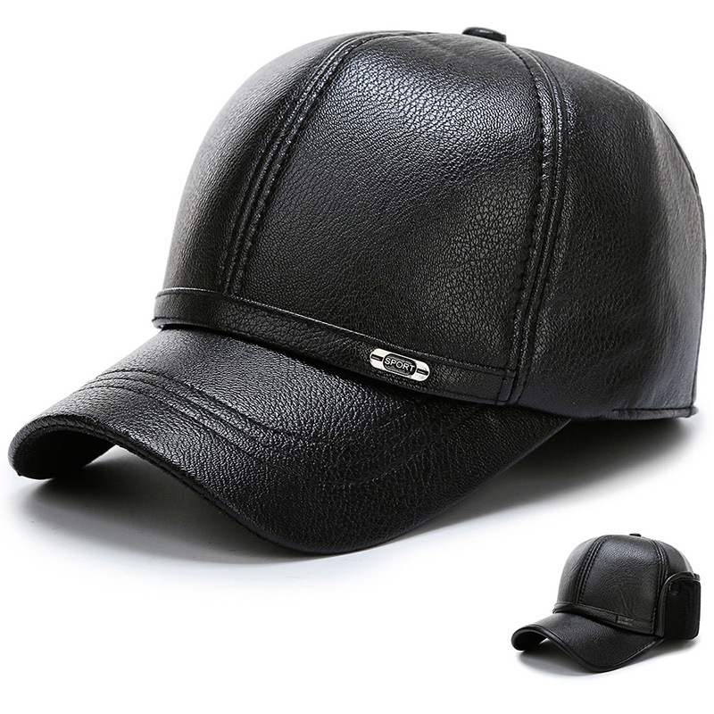 Wholesale Winter Baseball Cap For Men With Earflaps Warm Leather Thicker Snapback Cap Men Father's Hats Ear Protection Casquette