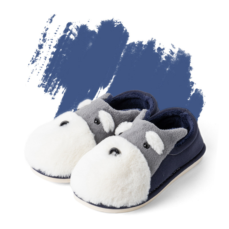 Winter Warm Man & Women Home Slippers Animal Dog Short Plush Slippers Female Non-slip Soft Cotton Indoor Shoes Lovers Slippers image