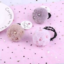 1pcs Hot Sale Faux Fur Ball Hair Rope Simple Hairy Ball Rubber Band Hair Rope Women Girls Elastic Pearl Hair Ring Headwear stylish simple style faux pearl chunky cuff ring for women