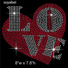 2pc/lot Love heart design stones sticker hot fix motif iron on crystal transfers rhinestone patch appliques
