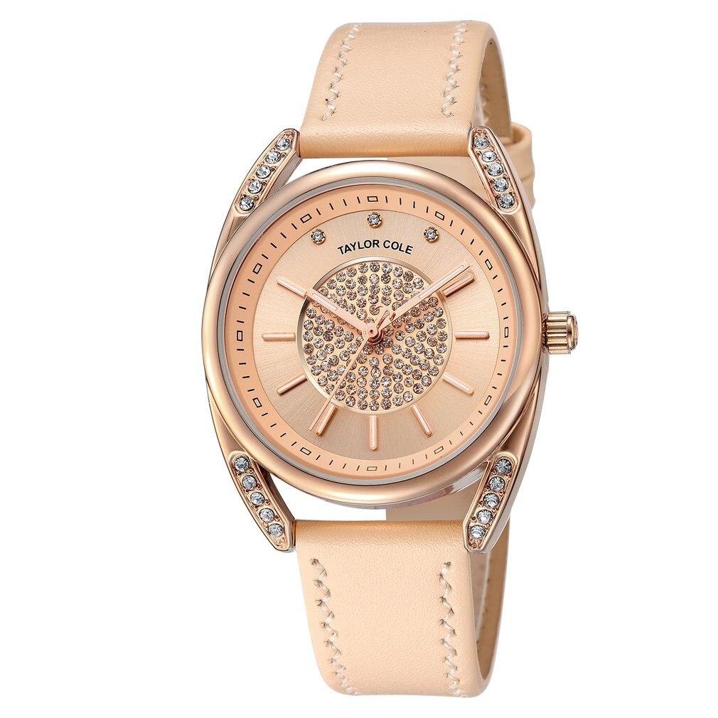 Luxury Brand Taylor Cole Quartz Watches Golden Case Elegant White Genuine Leather Strap Hodinky Women Causal Dress Watch /TC139