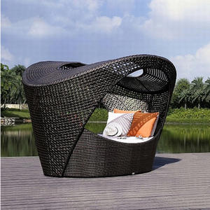 Sofa Balcony Outdoor Rattan-Chairs-Sets Lounger Lying-Bed Villa PU
