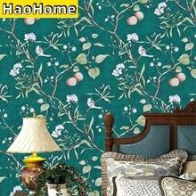 HaoHome Peach Tree Peel and Stick Wallpaper Green Wallpaper Modern Flower & Bird Waterproof Removable Self Adhesive Wallpaper