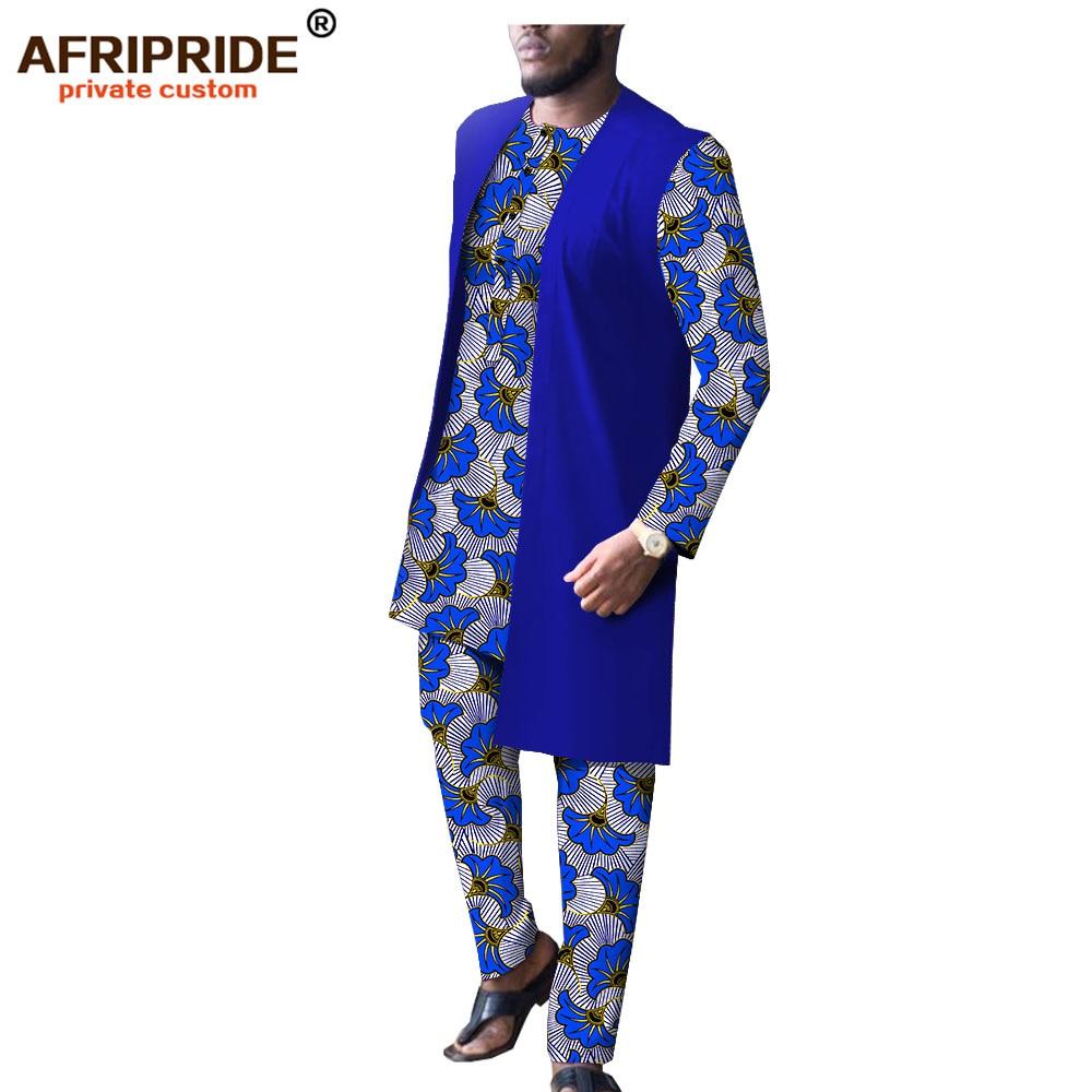 Дашики Мужская африканская одежда Длинные куртки принт рубашки и брюки набор Повседневный Спортивный костюм восковой наряд Базен Riche A1916009B - 3