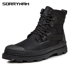 Black Warm Winter Men Boots Genuine Leather Ankle Boots Men Winter Work Shoes Men Military Fur Snow Boots for Men Botas eu38 48 winter genuine leather ankle snow boots men with plush army combat botas waterproof warm work shoes men motorcycle boots