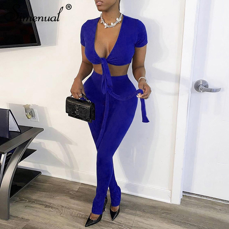 Simenual V Neck Bandage Women Two Piece Sets Short Sleeve Ribbed Solid Sexy Fashion Outfits Crop Top And Pants Matching Set Slim