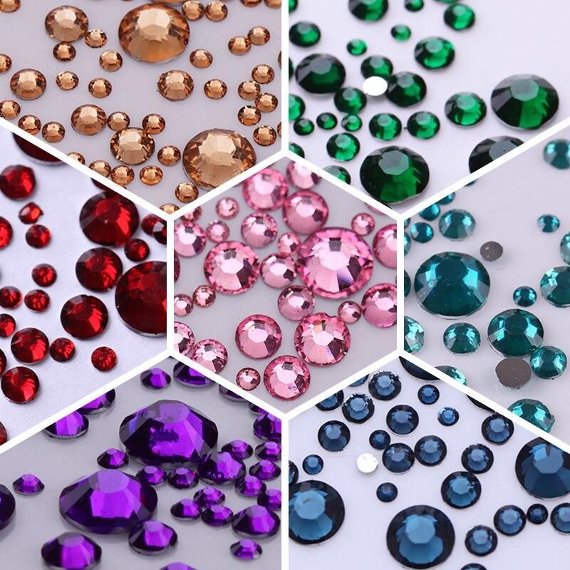 1000 Teile/beutel 3D Nail art Strass Mix Größen AB Farben Flache Unten Chameleon Nagel Studs DIY Nagel Dekorationen für Nägel