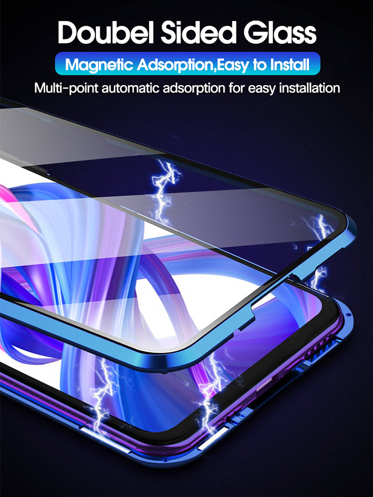 Double-sided Magnet 360 Protector Case Honor 8X Honor 9X Pro Tempered Front Glass
