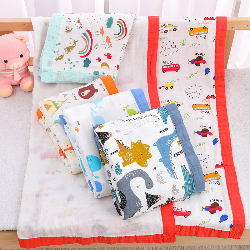 4-layers Baby Blankets Newborn Swaddle Wrap Soft Thicken Muslin Cotton Swaddle Newborn Swaddling Baby Bedding Receiving Blanket