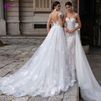 Fsuzwel Romantic Scoop Neck Backless Mermaid Wedding Dresses 2020 Luxury Appliques Detachable Train Trumpet Bride Gown Plus Size