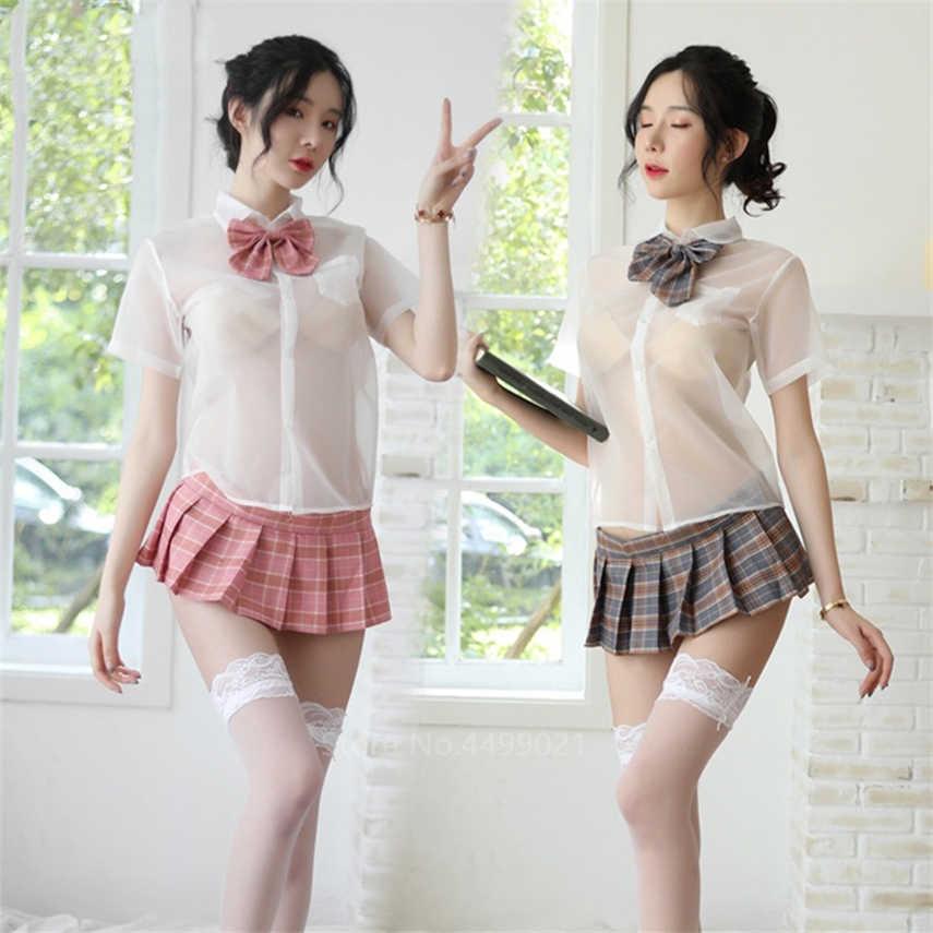 Vrouw Sexy Jk Uniformen Perspectief Korte Mouw Mini Plaid Rok Japanse Stijl Student Lingerie Sailor Cosplay Party Kostuum