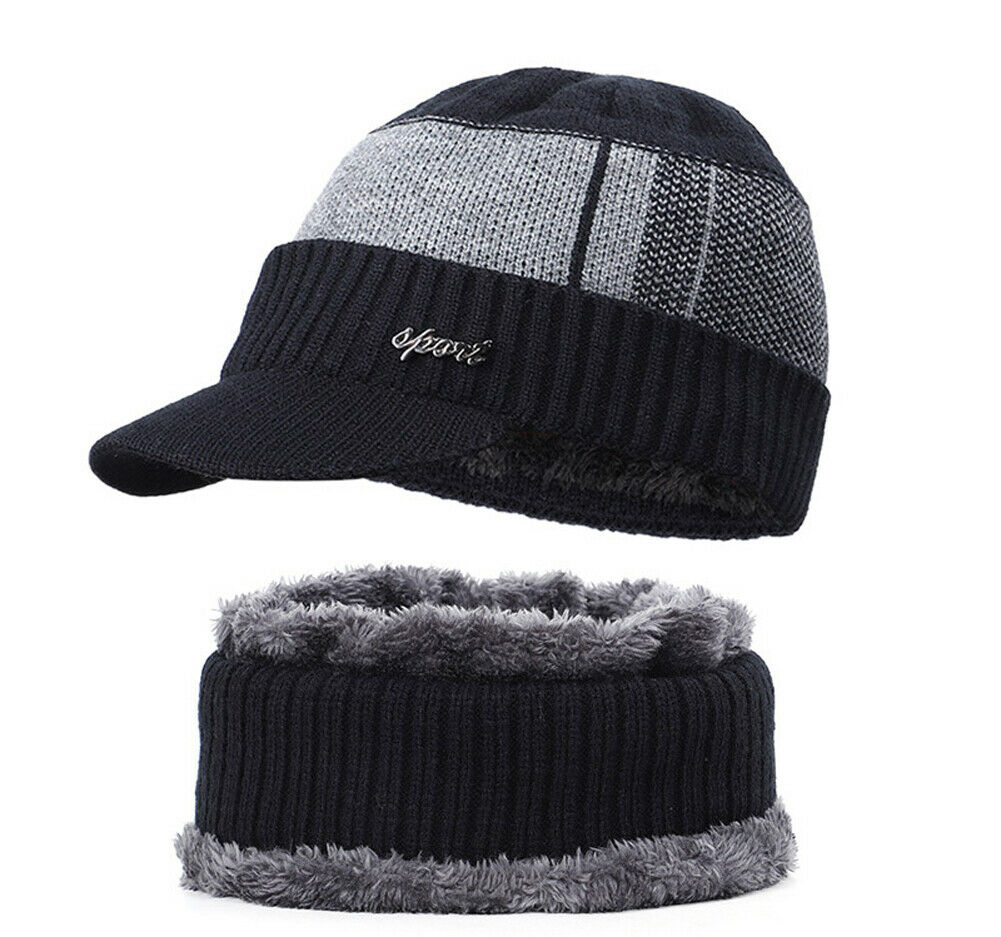 2pcs New Fashion Men Outdoor Winter Beanie Hat &Scarf Set Warm Knitted Cap With Scarf Black Gray Blue Red