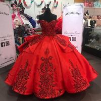 Red Sparkly Quinceanera Prom Dresses 2020 Off Shoulder Lace Applique Sequins Ball Gown Tulle Party Sweet 16 Dress Quinceañera